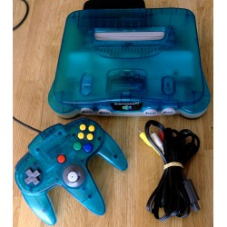 Nintendo 64: Komplett spillkonsoll i turkis (Ice Blue)
