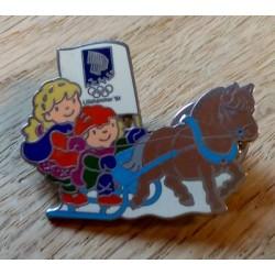 Pin: Lillehammer 1994 - Kristin og Håkon med hest og slede
