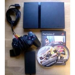 Playstation 2 Slim: Komplett konsoll med tre spill