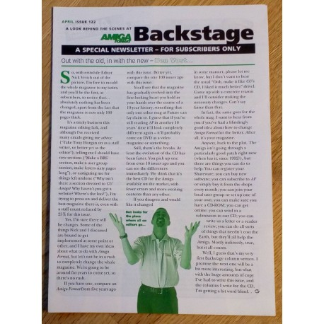 Amiga Format Backstage Newsletter: Issue 122
