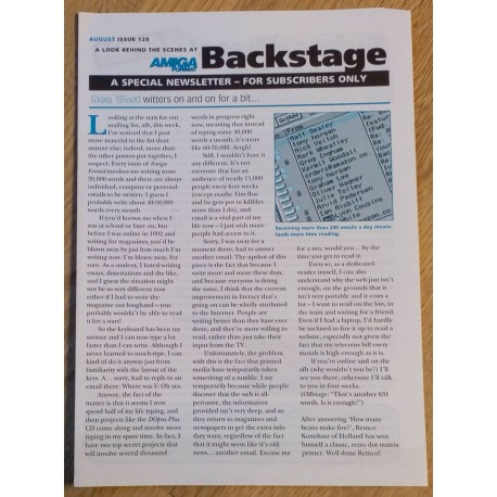 Amiga Format Backstage Newsletter: Issue 126