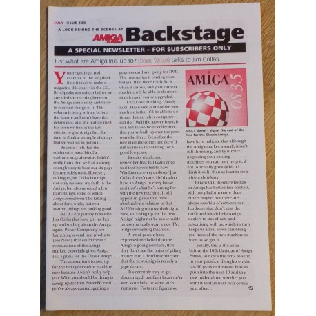 Amiga Format Backstage Newsletter: Issue 125