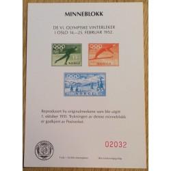 Frimerker: Minneblokk Olympiske Vinterleker i Oslo 1952