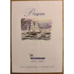 Wilh. Wilhelmsen 1861 - 1991: Program - Oslo Konserthus, 1. oktober 1991