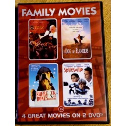 4 x Family Movies: The Story Lady, A Dog of Flanders, Sherlock Bones og Splitsville (DVD)