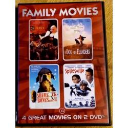 4 x Family Movies: The Story Lady, A Dog of Flanders, Sherlock Bones og Splitsville (DVD)