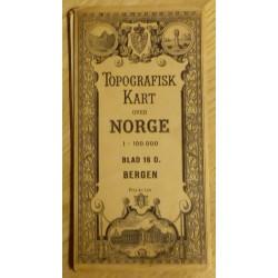 Topografisk kart over Norge - Bergen - 1:100 000 - Blad 16 D.