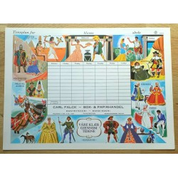 Timeplan fra Carl Falck Bok & Papirhandel i Tønsberg