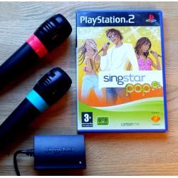Playstation 2 Singstar Pop-pakke med to mikrofoner, spill og adapter