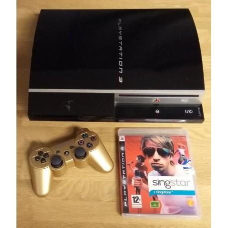 Playstation 3: Komplett konsoll med gullfarget joypad