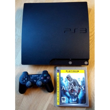 Playstation 3 Slim: Komplett konsoll med Assassin's Creed