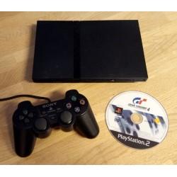 Playstation 2 Slim: Komplett konsoll med Gran Turismo 4