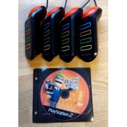 4 x Buzz kontroller med Buzz! - The Big Quiz - Playstation 2