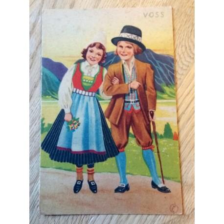 Postkort: Norges Bunadkort - Voss - Serie nr. 26