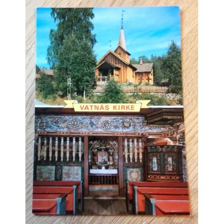 Postkort: Vatnås kirke - Solumsmoen - Sigdal