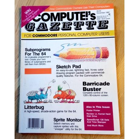 Compute!'s Gazette for Commodore Personal Computer Users - 1987 - November