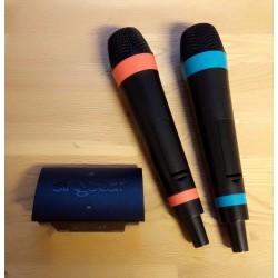2 x Trådløse Singstar-mikroner med adapter til Playstation 3