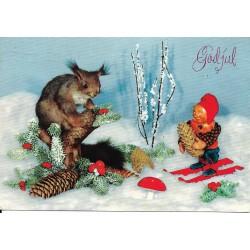 Postkort - Julekort - God jul - Ekorn og nisse