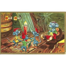 Postkort - Julekort - God jul - Dansende og strikkende mus