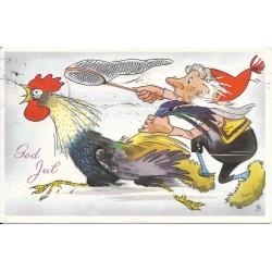 Postkort - Julekort - God jul - Nisse jager hane