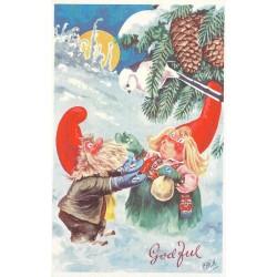 Postkort - Julekort - God Jul - Chr. K - Nisser og fugl