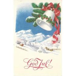 Postkort - Julekort - God Jul! - Grend, slede og bjelle