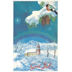 Postkort - Julekort - God Jul - Kirke og dompap