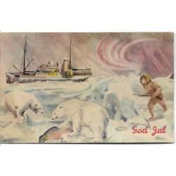 Postkort - Julekort - Polarmotiv