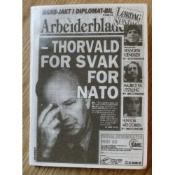 Fyrstikkeske: Arbeiderbladet: - Thorvald for svak for NATO